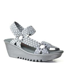 Silver Gray Crystal Wedge Sandal