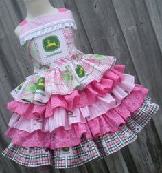 Custom Boutique John Deere Pink Green Girl Ruffled Dress 2 3 4 5 6 7 8 on Etsy, $89.00