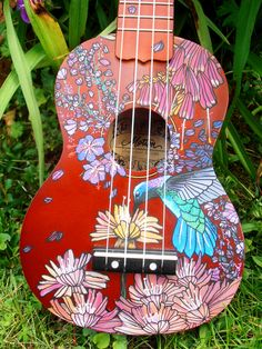handpainted ukulele for a friend who loves hummingbirds!  by suzanne van gils