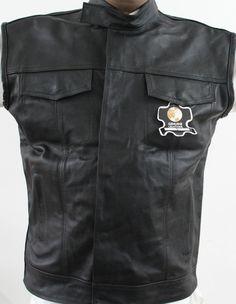 53 Men Motorbike Motorcycle Black Leather Vest New Large Size