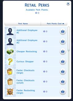 Free Retail Perks Mod / Half Cost Retail Perks by CyberOps at Mod The Sims via Sims 4 Updates Sims Four, Sims 4 Mm Cc, Sims 4 Game Mods, Sims 4 Mods, Sims Traits, Play Sims, Sims 4 Houses, Sims 4 Update, Sims Community