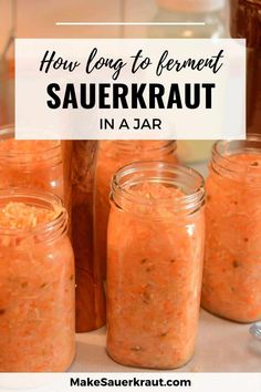 Like fine wine, sauerkraut improves with time. How long should you ferment sauerkraut in a jar? Learn about the factors that impact mason jar fermentation. Amount of salt, temperature range, recommended fermentation time, vegetable quality, and more. Make a good batch of fermented cabbage for probiotics and gut health. Fermented Sauerkraut, Homemade Sauerkraut, Fermented Cabbage, Sauerkraut Recipes, Cabbage Recipes, Fermented Foods, Fermenting Jars, Food Facts, Canning Recipes