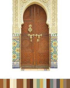 Moroccan geometic tiles & Ottoman shaped door frames.