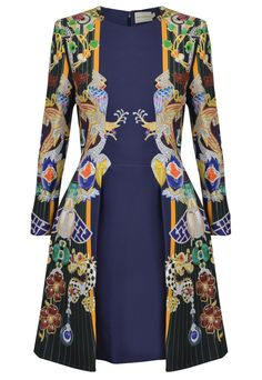 Mary Katrantzou Totem Chrono Dress in navy/orange.  A beautifully bold long sleeved dress from Mary Katrantzou.  The silk blend dress is decorated with birds and other animals along each side panel all jewelled with printed diamonds, gems and sapphires on a pin stripe background.  With a fitted bodice, the fully lined Totem Chrono Dress falls to a flirty skirt creating a playful feminine silhouette.