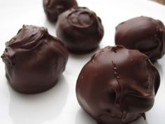 Peanut Butter Balls -- with graham cracker crumbs & crunchy peanut butter -- imagine with really good dark chocolate.
