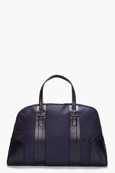 Neil Barrett, Navy Leather Trim Weekend Bag.