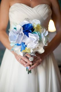 Keep your flowers forever with a fabric bouquet! Read more about his Florida wedding to see what other DIY projects this couple did on our blog. Photo courtesy of Kristin Byrum Photography.