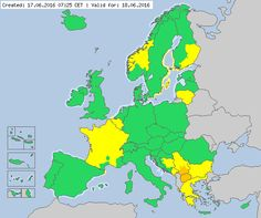 Valid for 18.06.2916 Meteoalarm - severe weather warnings for Europe - Mainpage