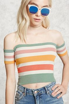 38a1b0472d78 A ribbed knit crop top featuring an allover stripe pattern