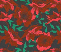 vintage_poppy fabric by holli_zollinger on Spoonflower - custom fabric