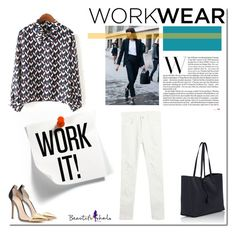 """work."" by tatajrj ❤ liked on Polyvore featuring Yves Saint Laurent, Gianvito Rossi, WorkWear, Work, Street, beautifulhalo and bhalo"
