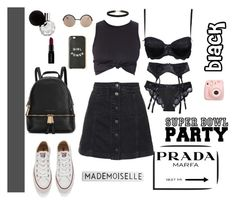 """""""Black"""" by djulia-tarasova ❤ liked on Polyvore featuring Topshop, Marc by Marc Jacobs, Converse, Michael Kors, Prada and Smashbox"""