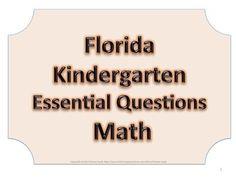 Florida K Kindergarten Math ESSENTIAL QUESTIONS No Border
