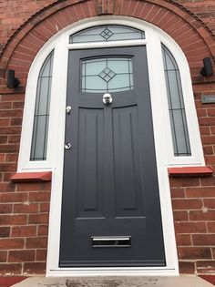 A beautiful Anthracite Grey Newark with Bright Star glass and matching bespoke shaped frames. Arched Front Door, Grey Front Doors, Front Doors With Windows, Arched Doors, Exterior Front Doors, Porch Doors Uk, Front Door Porch, House Front Door, Entry Doors