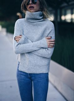 cozy grey turtleneck | The August Diaries