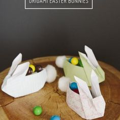 Origami Easter Bunnies with Cotton Tails {Easter DIY}
