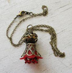 Antique Bronze Crown Filigree RED Lucite Flowers by MystiqueCat, $12.00
