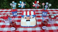 Uncle Sam cake and 4th of july decorations