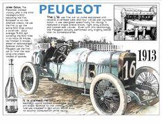 1913 Indy 500 winner Jules  Goux in the Peugeot race car.