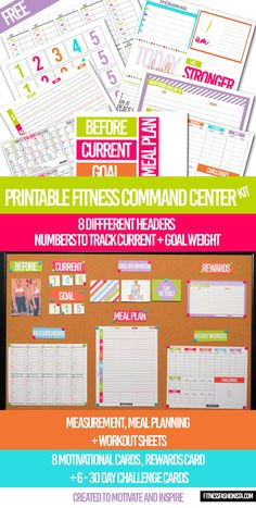 Free Printable Fitness Command Center Kit- Organization is the key to life and to any fitness journey. Grab your free printable fitness command center to organize your journey. Fitness Binder, Fitness Journal, Fitness Planner, Fitness Tips, Health Fitness, Yoga Fitness, Workout Fitness, Fitness Goals, Fitness Diary