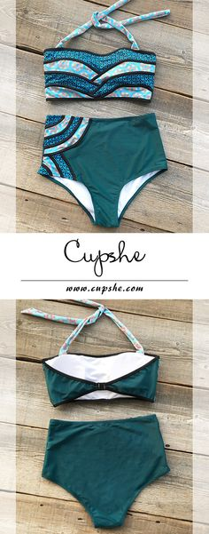 Live life on the beach, $26.80 only & Short Shipping Time! It has halter design and high-waisted fit, which can support your perfect body. Just stay in style with Cupshe Seascape Painting Halter Bikini Set.