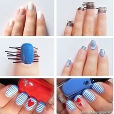 Blue striped nails with a red heart! Perfect for patriots day!