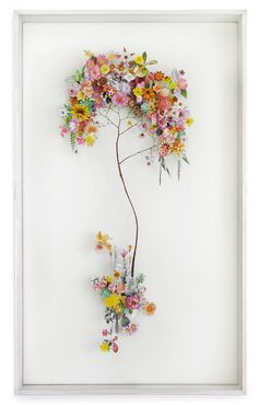 Anne Ten Donkelaar •• Flower constructions are 3D collages from pressed flowers & cut out flower pictures.