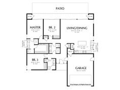 Floor Plan - 1 Story Home Design with 3 BRs and 2 Baths Simple Floor Plans, Modern Floor Plans, Home Design Floor Plans, Modern House Plans, Modern Contemporary Homes, Modern Design, House Design, Flooring, How To Plan