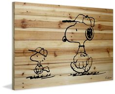 Baseball Glove - Art on natural wood, Peanuts Collection, Charles Schultz. Snoopy and Woodstock are baseball all-stars!