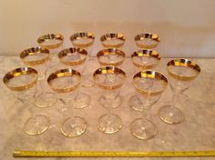 14 Vintage Tiffin Claret Wine Glass Optic Stemware Wide Gold Rim Rambler Rose