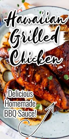 A Delicious Hawaiian Bbq Chicken Marinated With Your Own Bbq Sauce! Why buy bbq sauce for this Hawaiian bbq chicken when you can easily make your own with a few ingredients you probably have in your kitchen. You will love this recipe that is perfect for the bbq. #bbq #barbecue #chicken #Hawaiianchicken #grilledchicken #grilled #pineapplechicken #partyfood #easydinner #easyrecipe #grilledrecipe #bbqchicken #barbeque Homemade Barbecue Sauce, Homemade Bbq, Homemade Sauce, Barbecue Recipes, Grilling Recipes, Barbecue Chicken, Grilled Chicken Recipes, Marinated Chicken, Easy Chicken Recipes