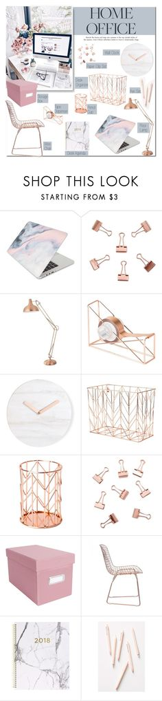 """""""Work Hard: Home Office"""" by carlottabruni ❤ liked on Polyvore featuring interior, interiors, interior design, home, home decor, interior decorating, Recover, Forever 21, U Brands and Zuo"""