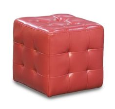 Zen Collection Tufted Bonded Leather Cube Ottoman (Red) x x Red Ottoman, Tufted Ottoman, Leather Ottoman, Urban Loft, Selling Furniture, Mocca, Bonded Leather, Living Room Furniture, Cube
