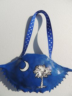 Hand Painted Low Country SC South Carolina State Flag Blue Crab Shell Nautical Christmas Ornament on Etsy, $12.95