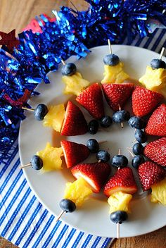 Red, White and Blue Fruit Skewers - can also use star fruit instead of pineapple
