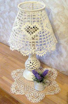 Купить Абажур для настольной лампы, вязаный крючком - белый, кремовый, экрю, абажур ручной работы
