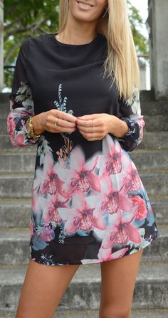 pink & black floral mini dress