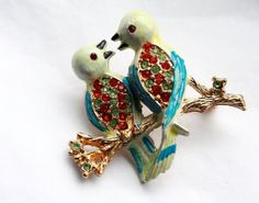 Vintage 1960s Love Birds with Rhinestones // Hand Painted Enamel Brooch // Gold Plated