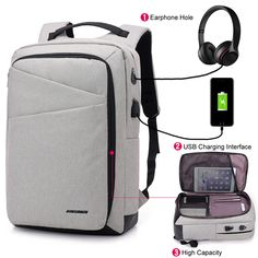 557142a70b5f Inch Laptop Anti-theft Men Backpack With USB Charging Headphone Interface  Port Business Back Pack Waterproof For Work Women