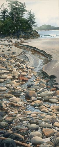 Seabound Stream (watercolor on paper) by Carol Evans