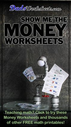 Our printable money worksheets feature realistic coins and bills in problems for identifying coins, making change, counting coins, comparing amounts of money. Free Printable Math Worksheets, Money Worksheets, Counting Coins Worksheets, Printables, Free Teaching Resources, Teaching Math, Learning Activities, Homeschool Math, Homeschooling