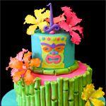 Tiki Birthday Cake by Pink Cake Box Perfect for my mom! Luau Party Cakes, Luau Birthday Cakes, Beach Themed Cakes, Birthday Ideas, Hawaii Cake, Rodjendanske Torte, Pink Cake Box, Summer Cakes, Girl Cakes