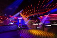 Lounge Bar Design - Photo of the newly remodeled Envy Nightlife at Route 66 Casino. Karaoke, Nightclub Design, Nightclub Bar, Arcade, Club Lighting, Lighting System, Lounge Design, Gym Design, Luz Led