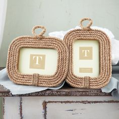 """Two's Company 4"""" x 6"""" Rope Photo Frames"""