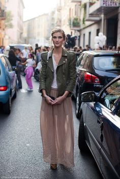 sheer maxi with a structured army green jacket.