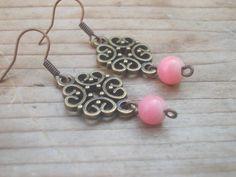 Onyx pink onyx lovely earringsFiligree earrings   by IriscaJewelry, $0.20