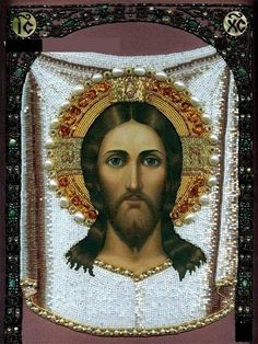 Icons embroidered with beads - Our Father, Who art in heaven  Hallowed be Thy Name; Thy kingdom come, Thy will be done, on earth as it is in heaven.  Give us this day our daily bread, and forgive us our trespasses,  as we forgive those who trespass against us; and lead us not into   temptation, but deliver us from the evil one....Amen †♥♥