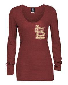 MLB St. Louis Cardinals Long Sleeve Tee, Red/Heather, Medium