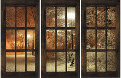 Amazon.com: Window in Park Winter Canvas Wall Art, 5 Stars Gift Startonight Set of 3 Total 47.2 X 70.87 Inch: Paintings