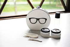 Items similar to White Contact Lens Case and Travel Kit: Silver Foiled Eye Glasses Design on Etsy Special Effect Contact Lenses, White Contact Lenses, Contact Lens Cases, Blue And Silver, Pink And Gold, Green Contacts Lenses, Item International, Prescription Colored Contacts, Gold Eyes